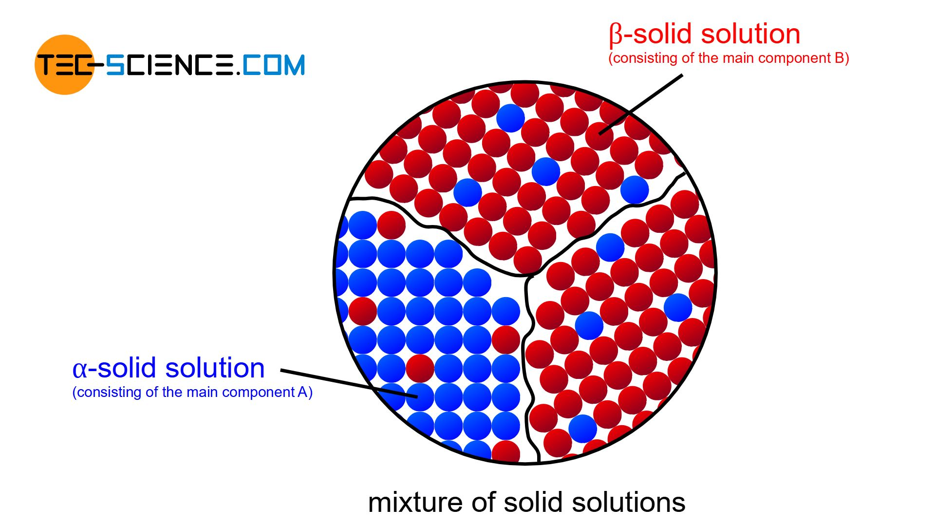 Schematic structure of a partial solubility of the two components in the solid state