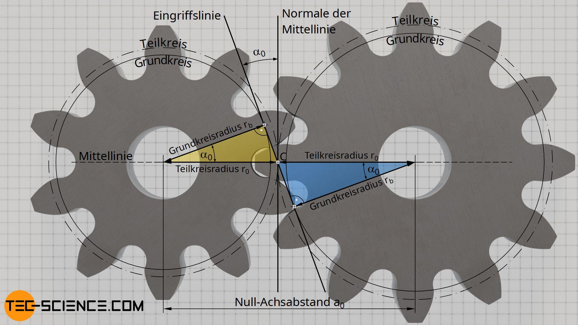 Zusammenhang zwischen Grundkreis und Teilkreis (Eingriffswinkel)
