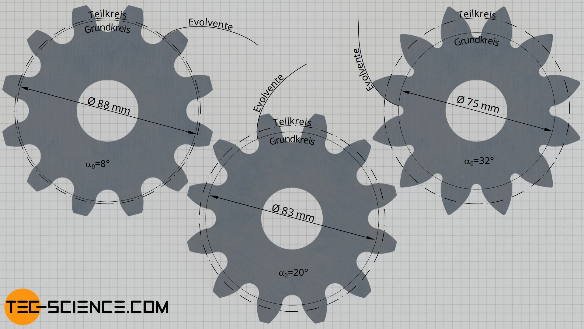 Zahnflankenform für verschiedene Grundkreisdurchmesser