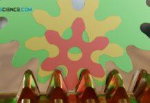 Herstellungsbedingter Unterschnitt beim Wälzfräsen (gelbes und rotes Zahnrad)