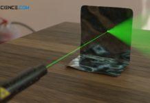 Laserstrahl an einer reflektierenden Oberfläche