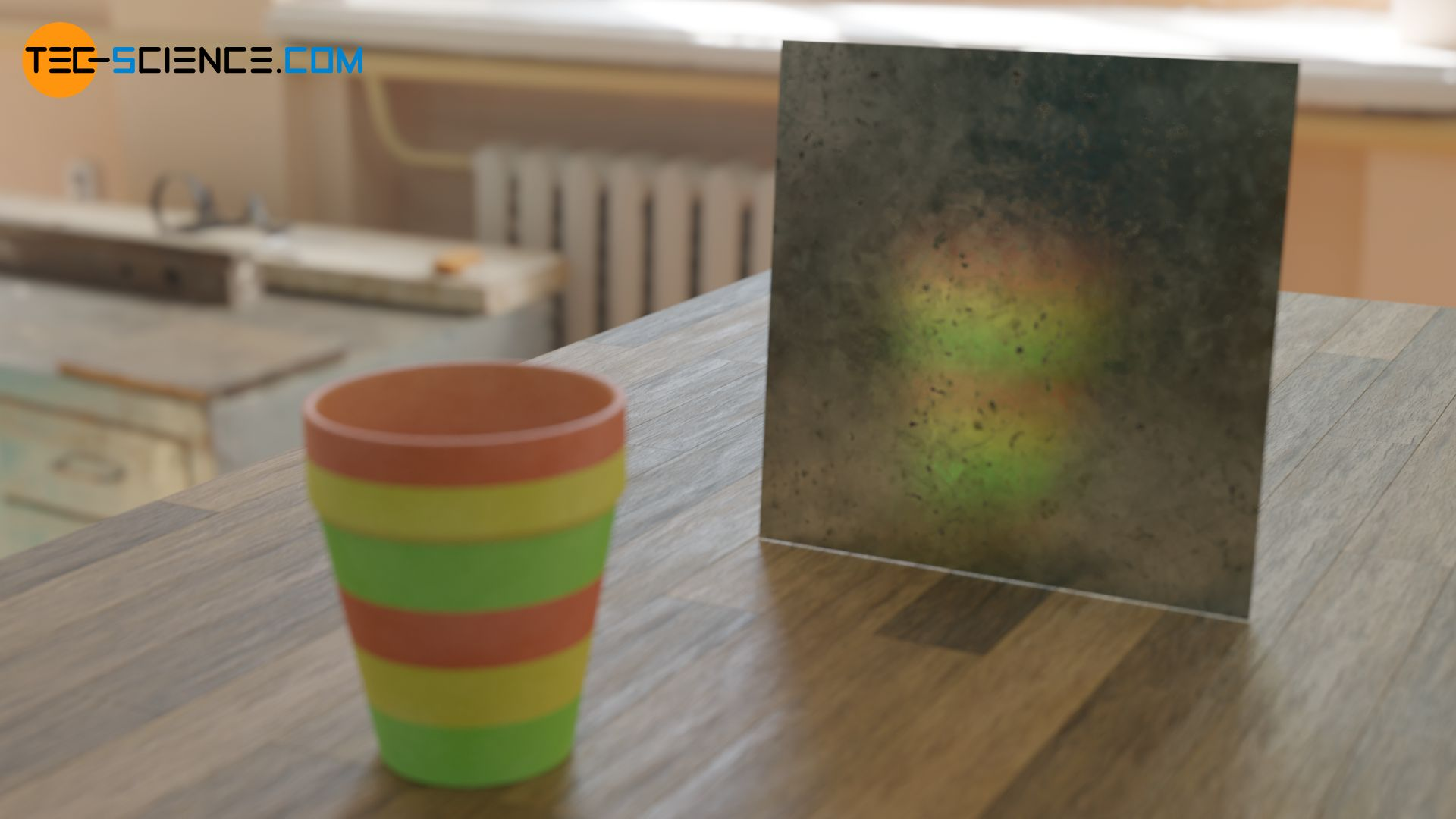 Diffuse Reflexion an einer rauen, korrodierten Metallplatte