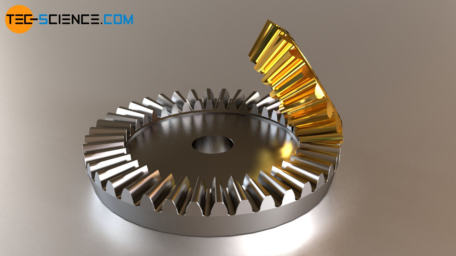 Planar crown gear (ring gear) and conventional bevel gear (pinion)