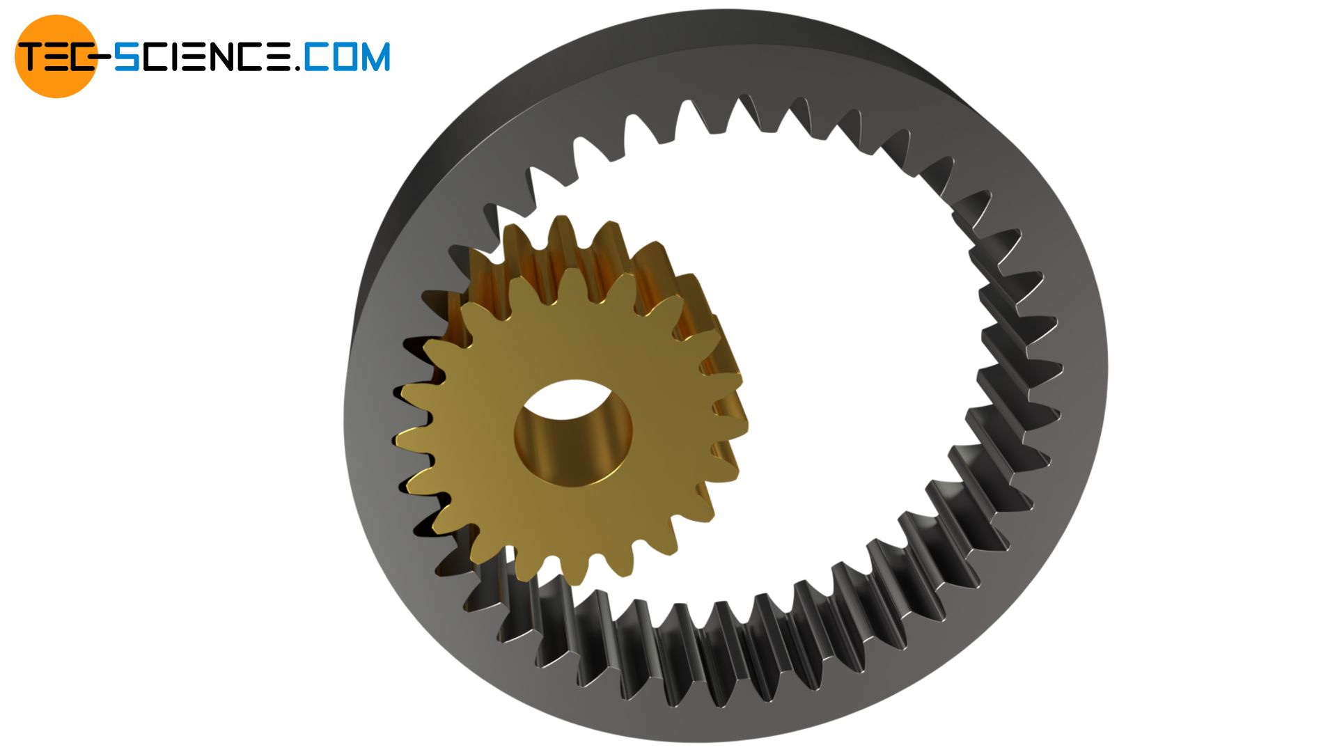 Spur gear with internal toothing