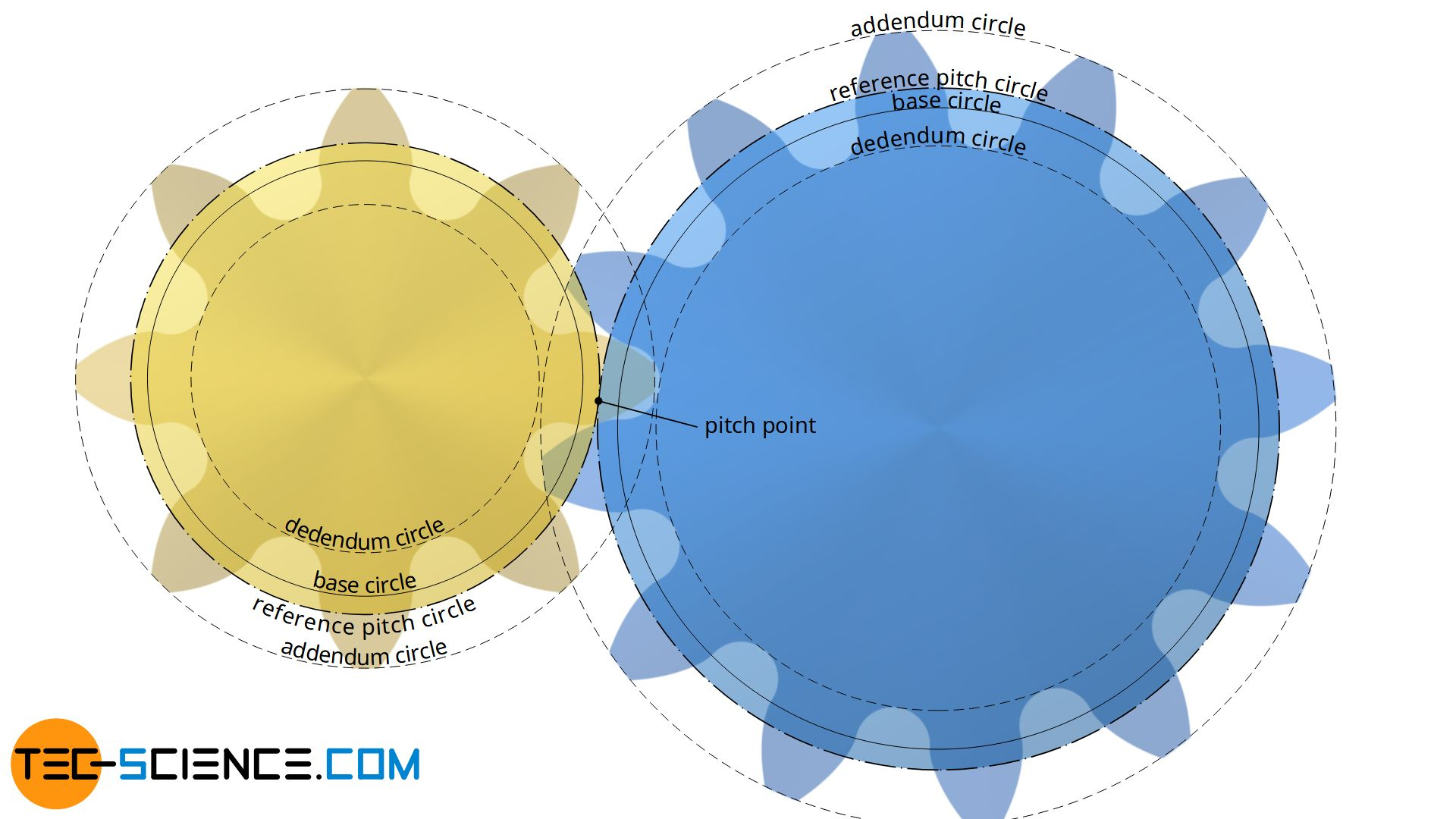 Base circle, addendum circle and dedendum circle of an involute gear