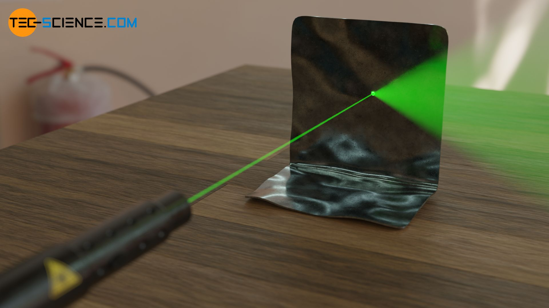 Laser beam on a reflecting surface
