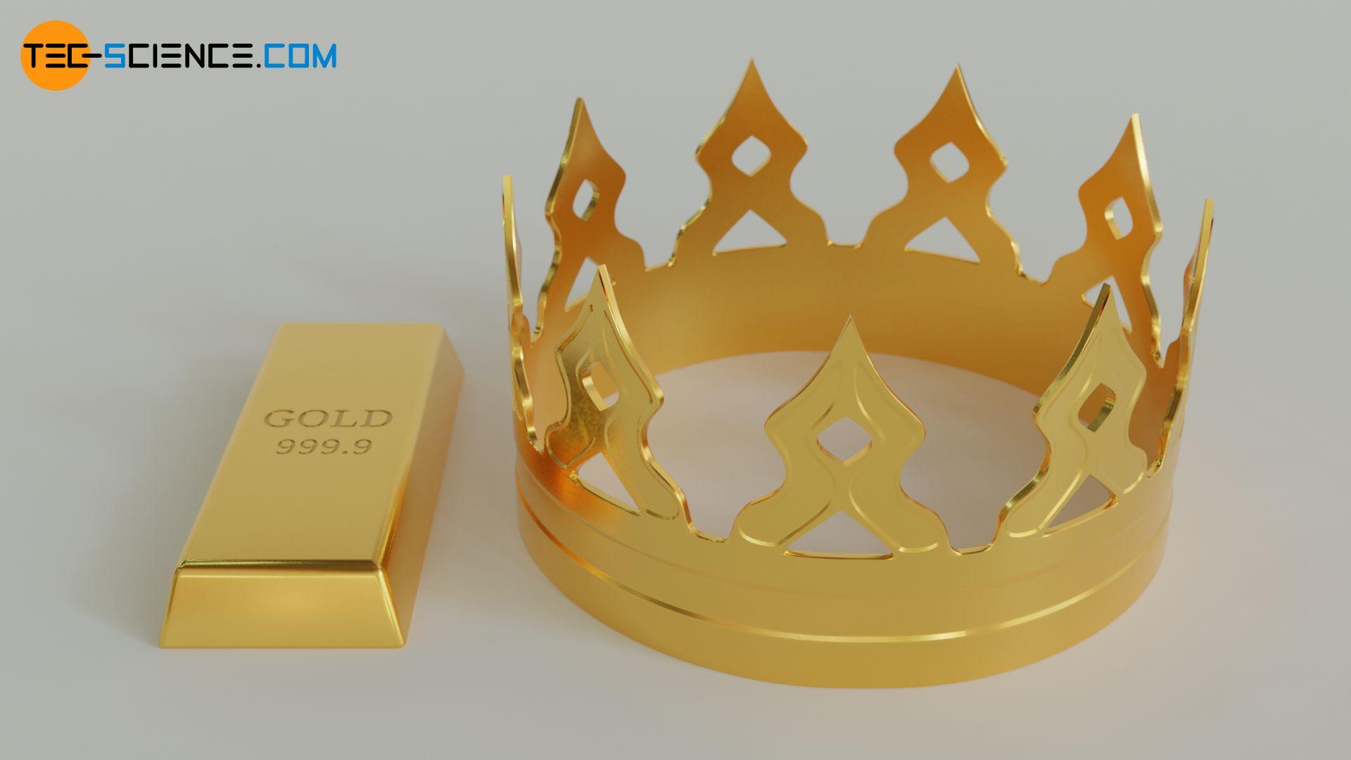 Goldbarren und Krone