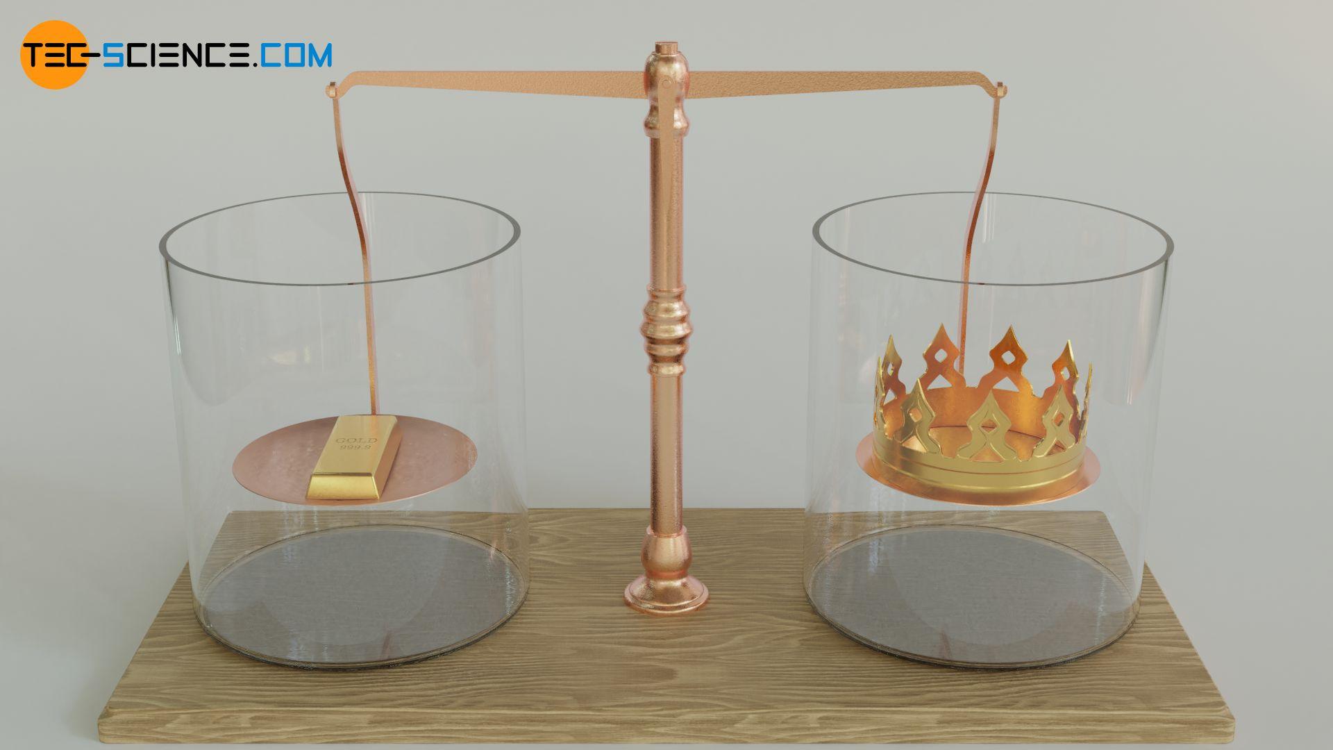 Goldbarren und Krone gleicher Masse an einer Balkenwage