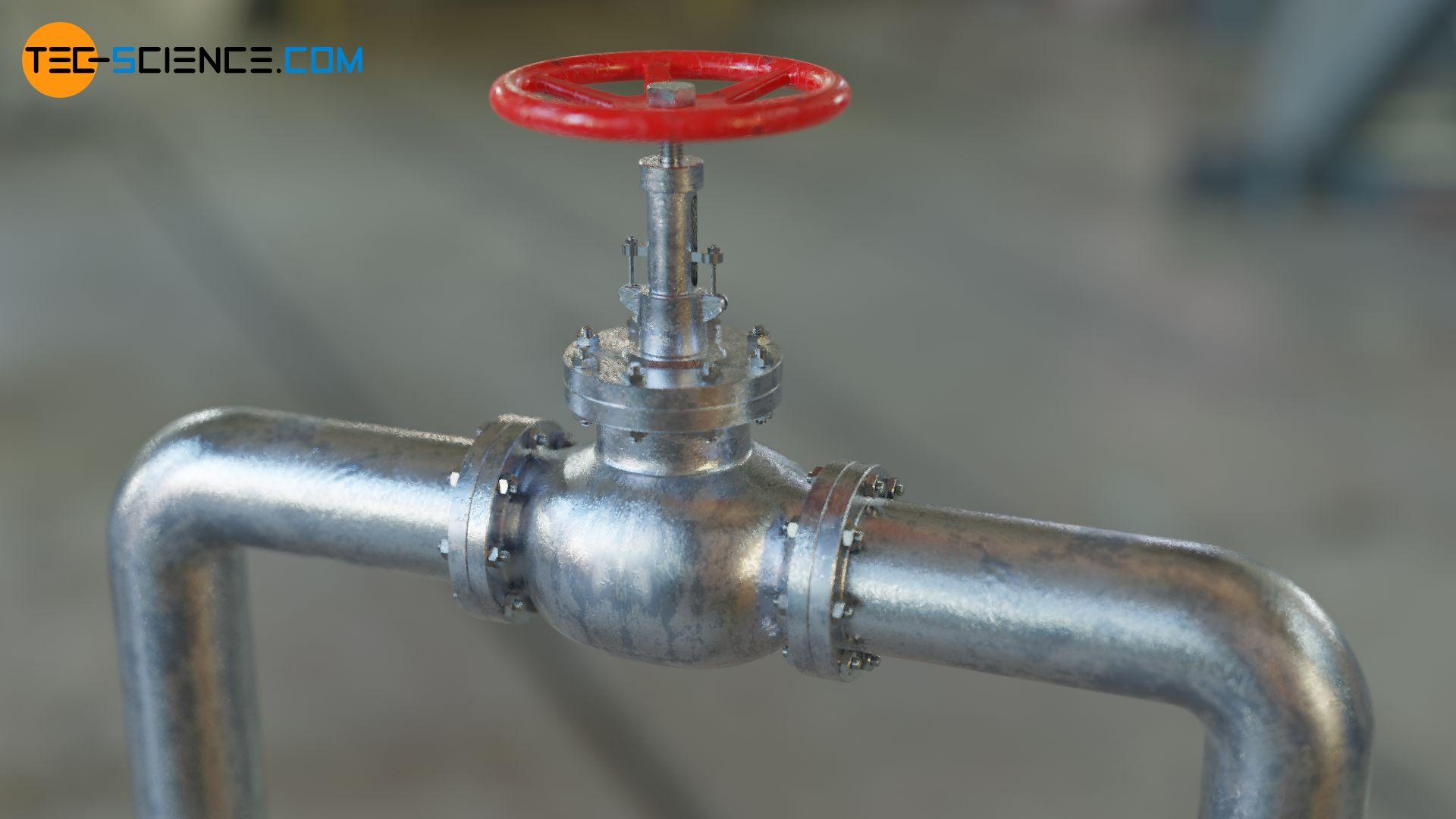 Ventil und Rohrkrümmer in einem Rohrleitungssystem