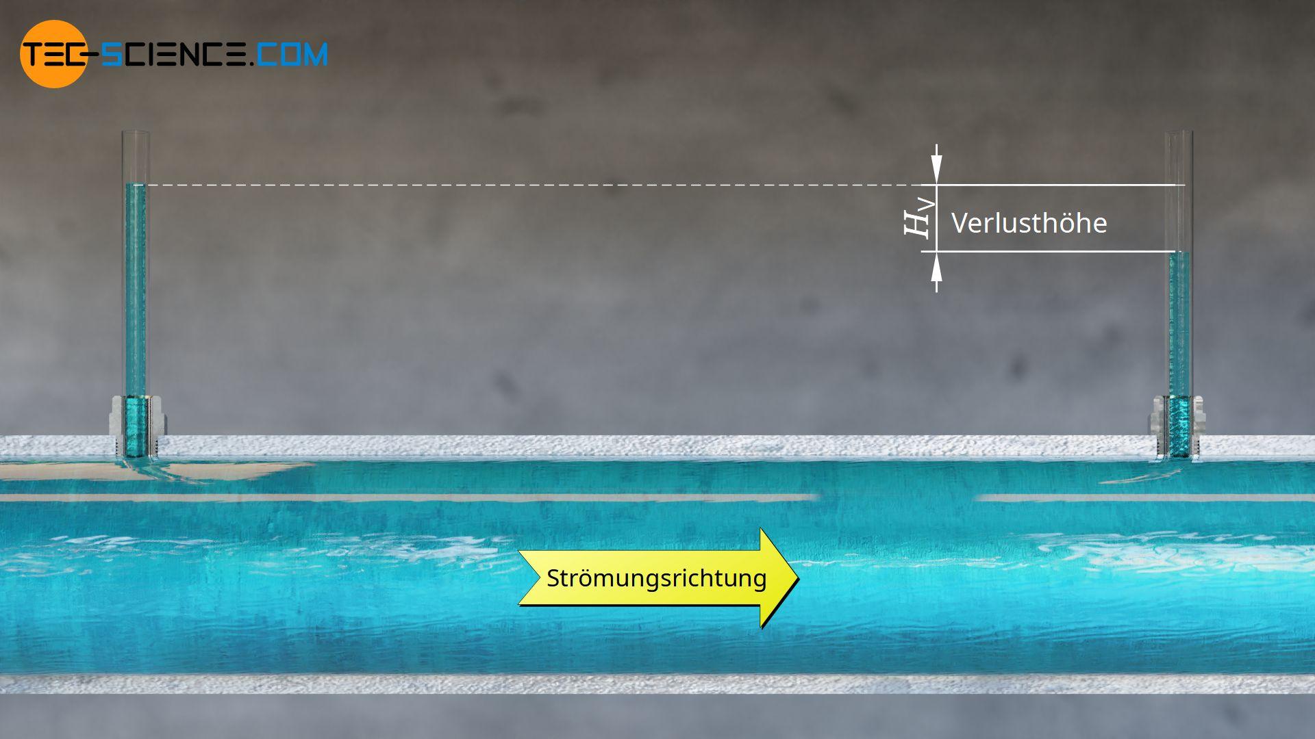 Verlusthöhe am Beispiel einer vertikalen Rohrleitung