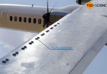 Turbulatoren an der Tragfläche eines Flugzeuges zur Erzeugung einer turbulenten Umströmung