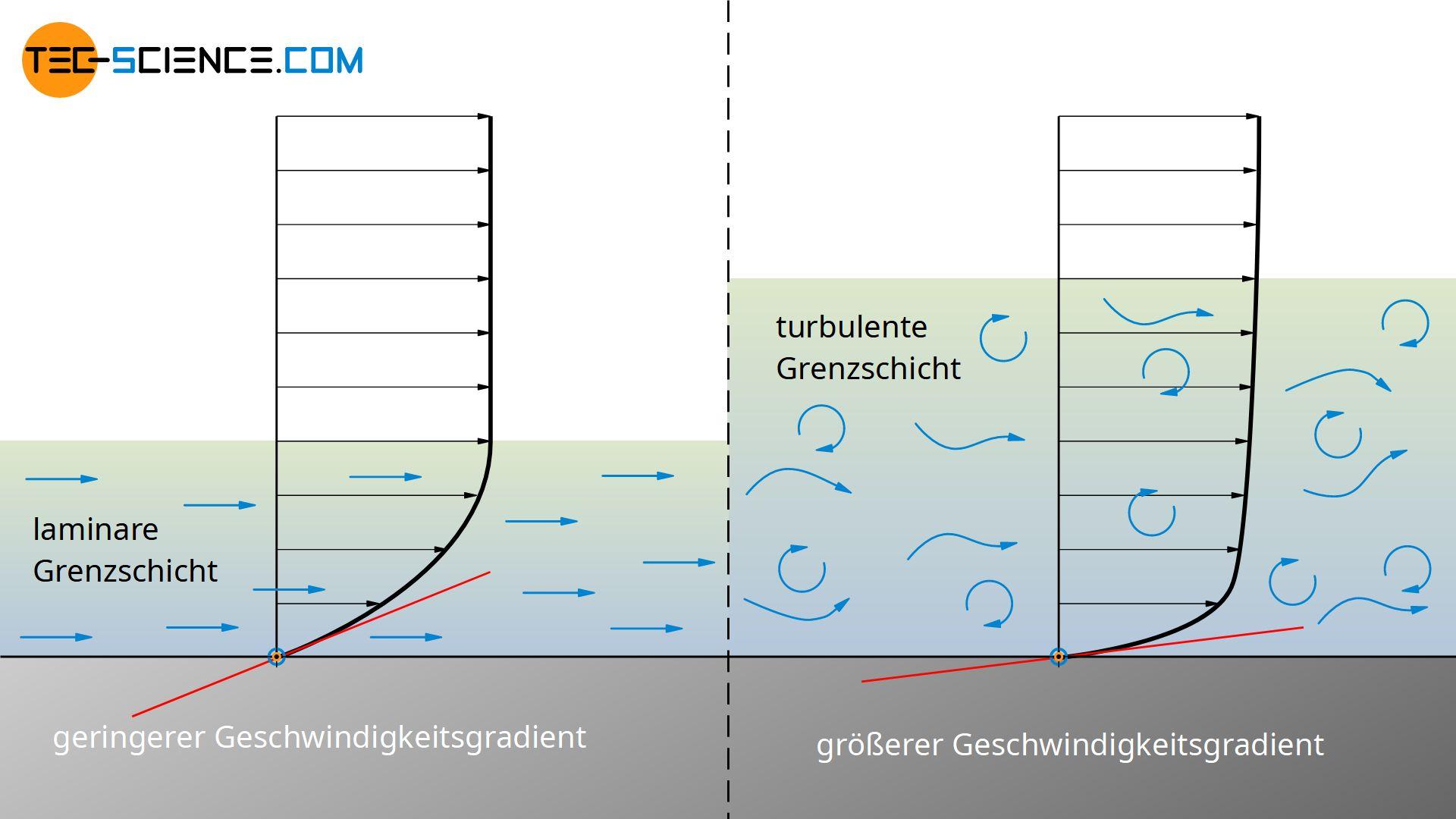 Geschwindigkeitsverteilung in einer laminaren und turbulenten Grenzschicht