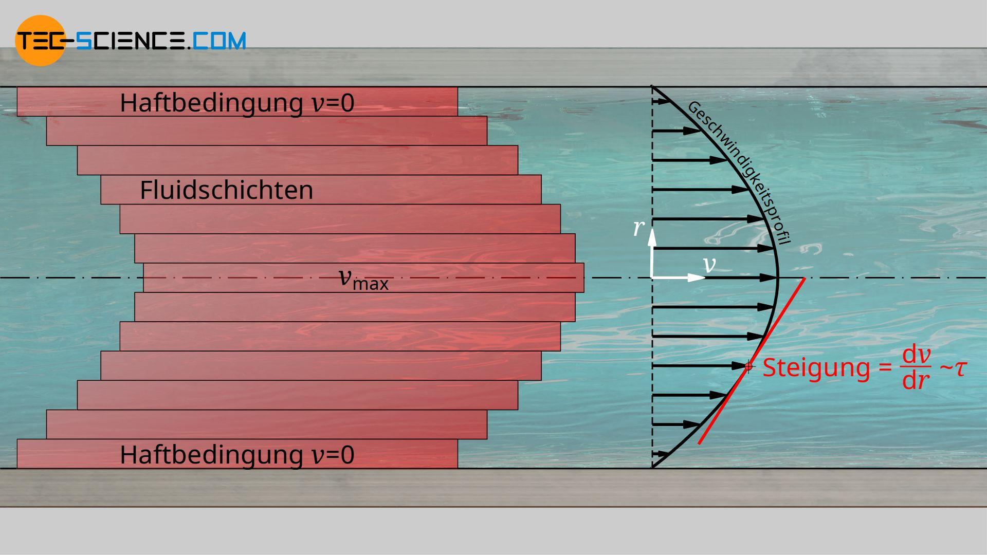 Reibung der Fluidschichten aufgrund der Viskosität und das daraus resultierende Geschwindigkeitsprofil