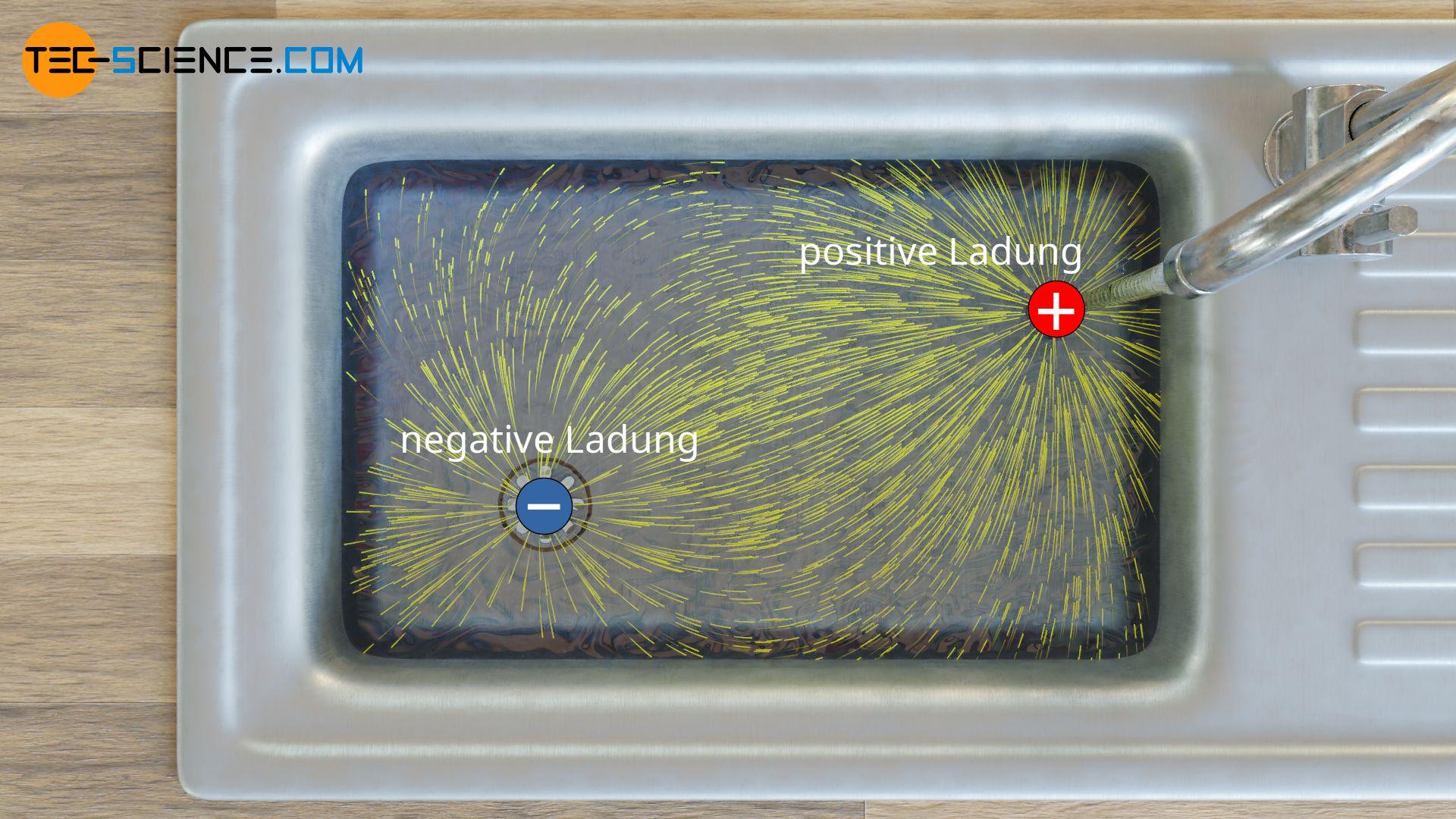 Feldlinienbild von elektrischen Ladungen