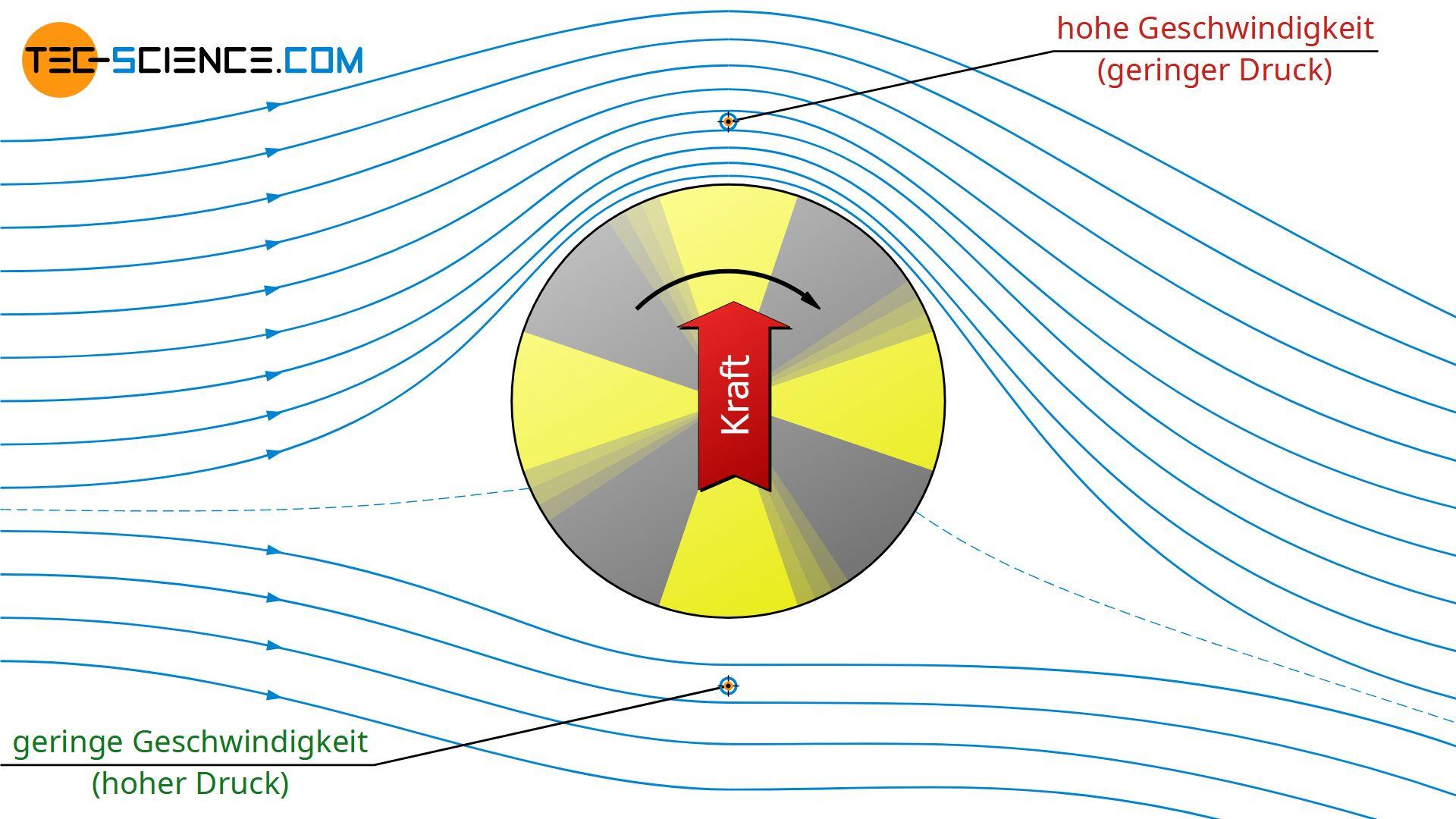 Strömungsfeld um einen rotierenden Zylinder in einem bewegten Fluid
