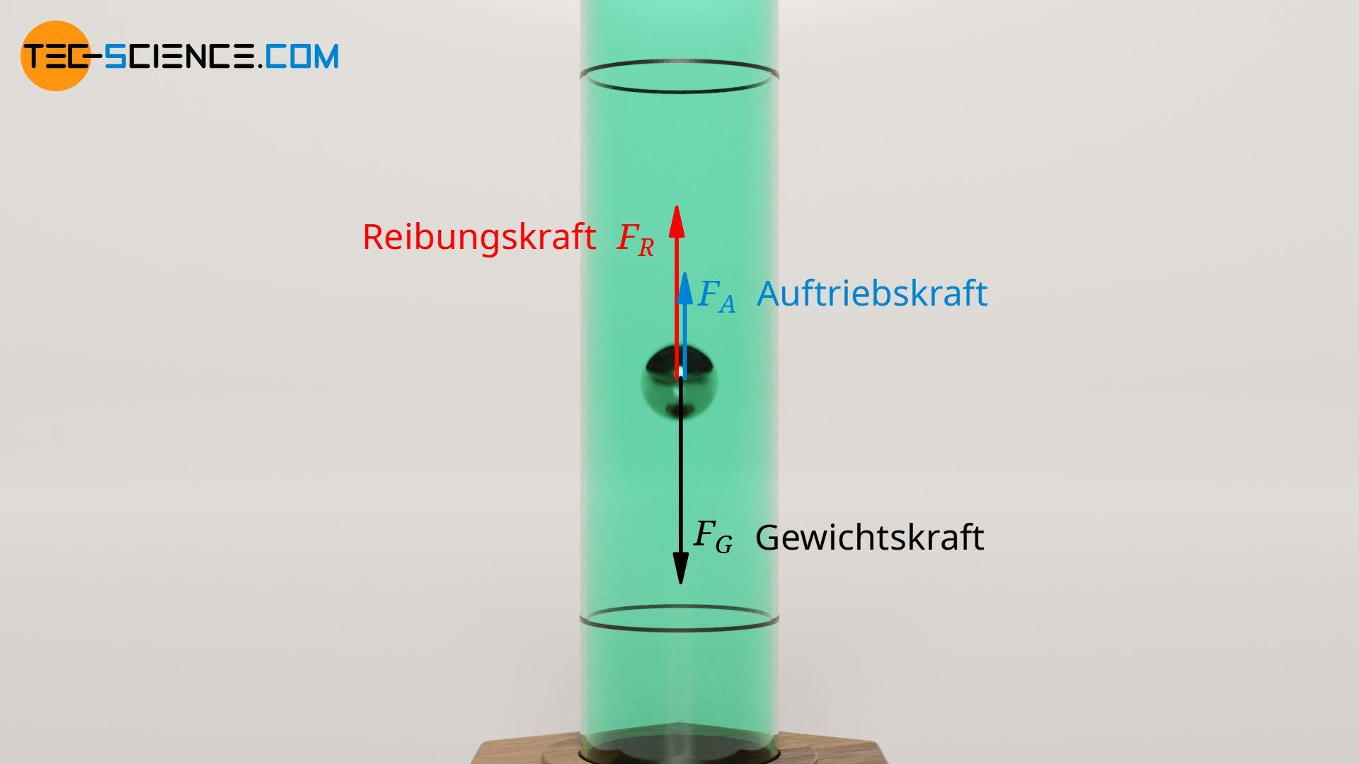 Kräftegleichgewicht an einer fallenden Kugel in einer Flüssigkeit