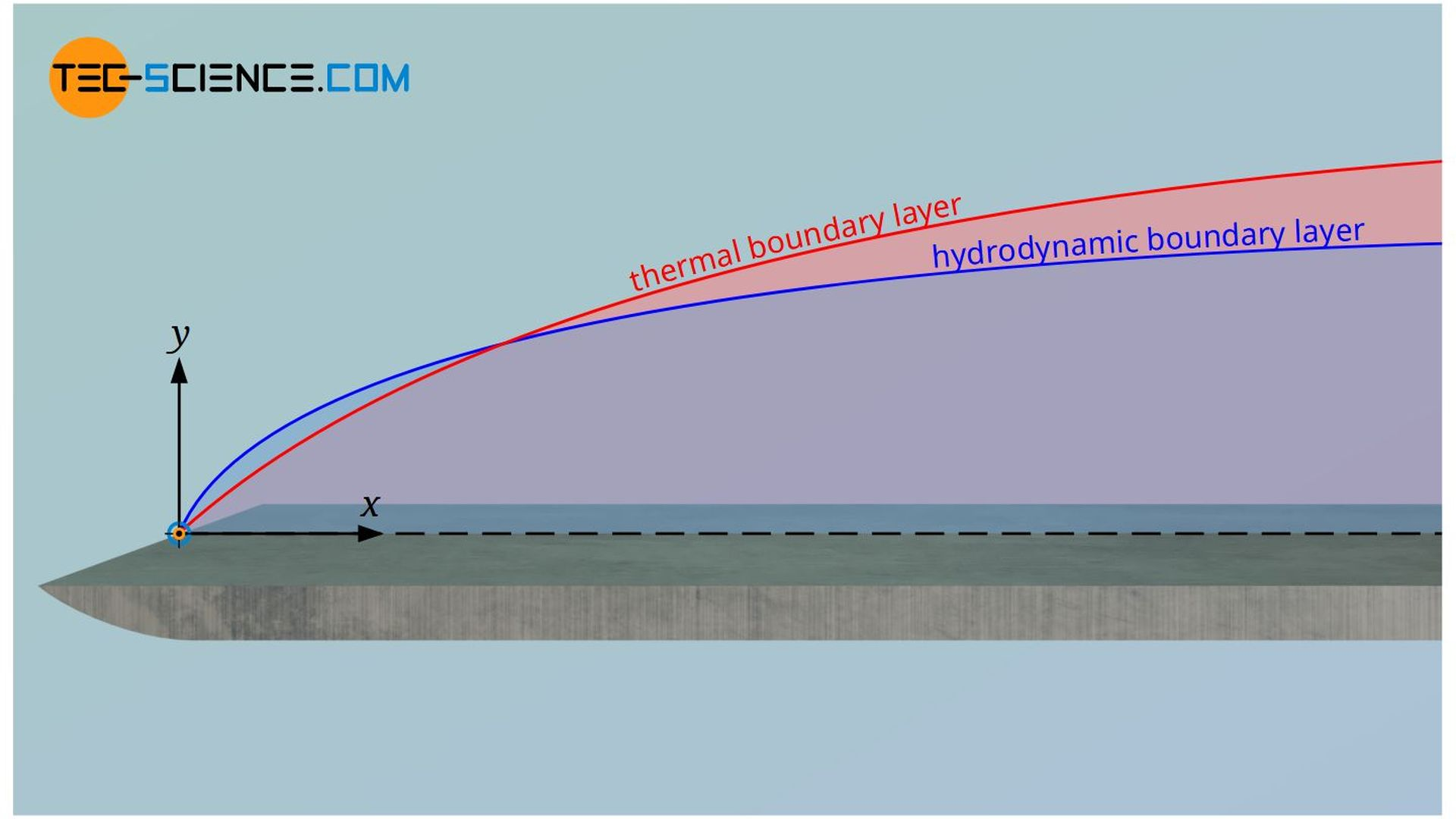 Hydrodynamic and thermal boundary layer of the flow over a flat plate