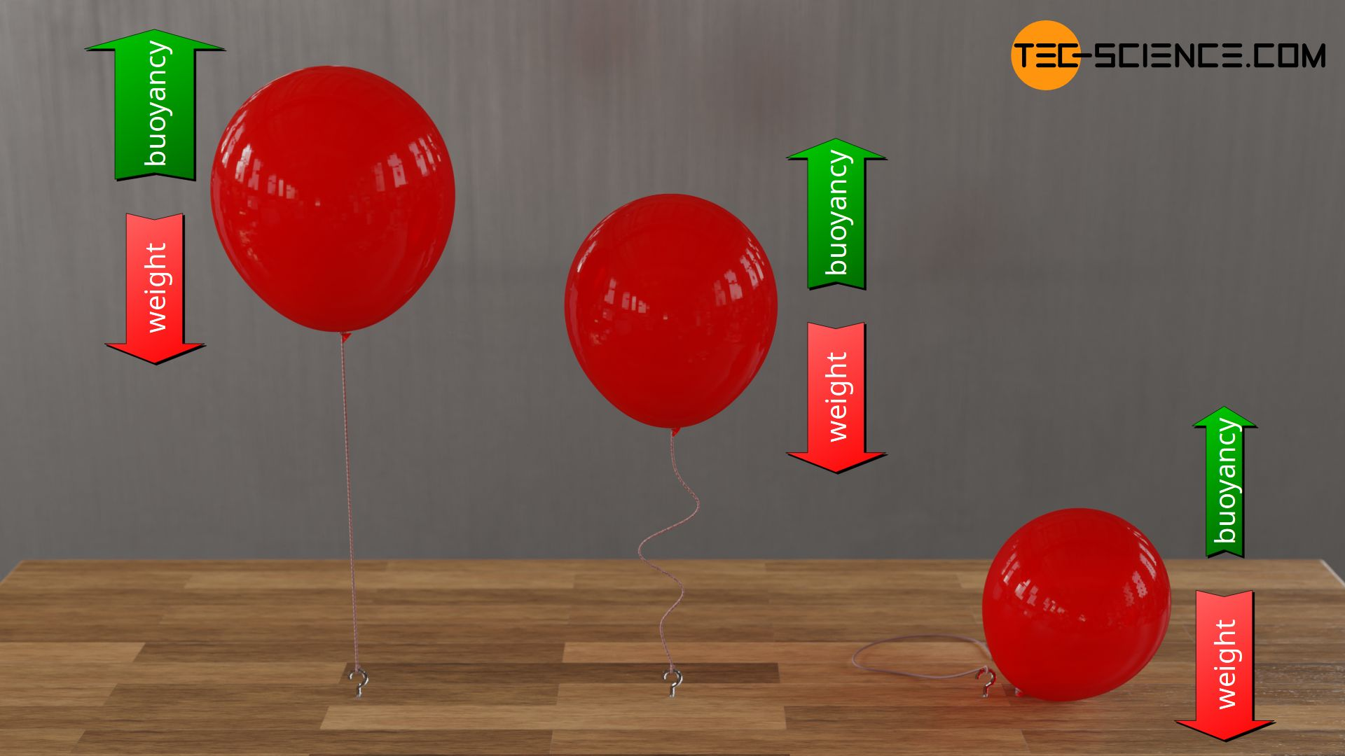 Helium filled balloons in different states