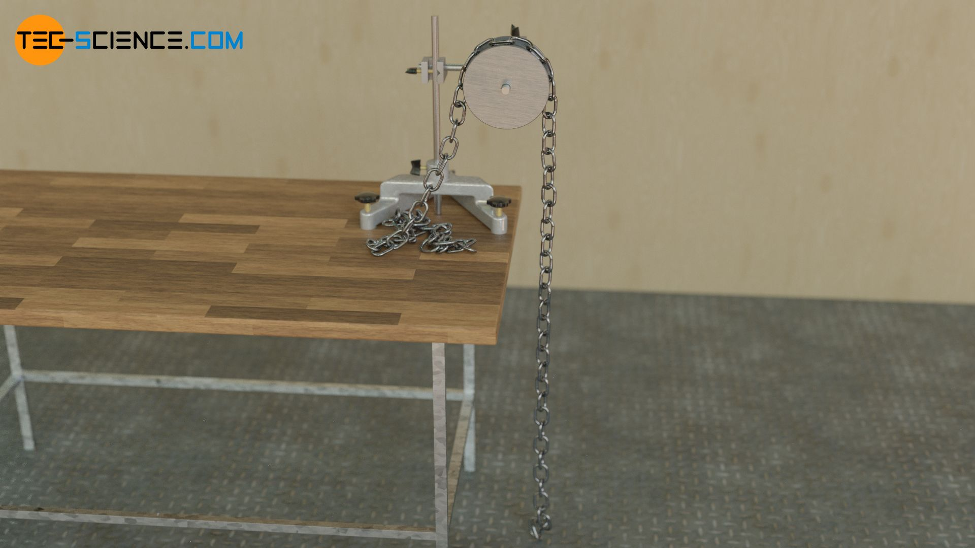 Rolling a chain over a pulley