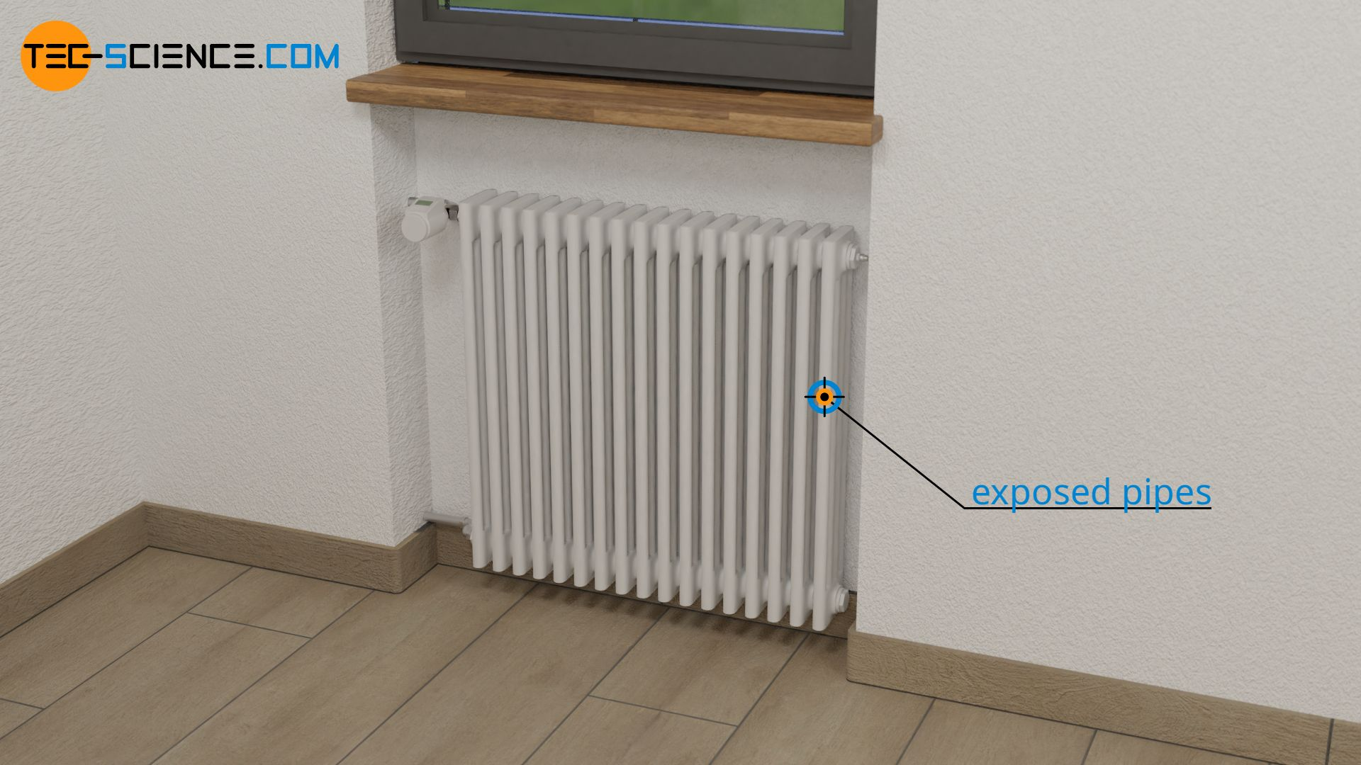 Cylindrical heating pipes of a radiator
