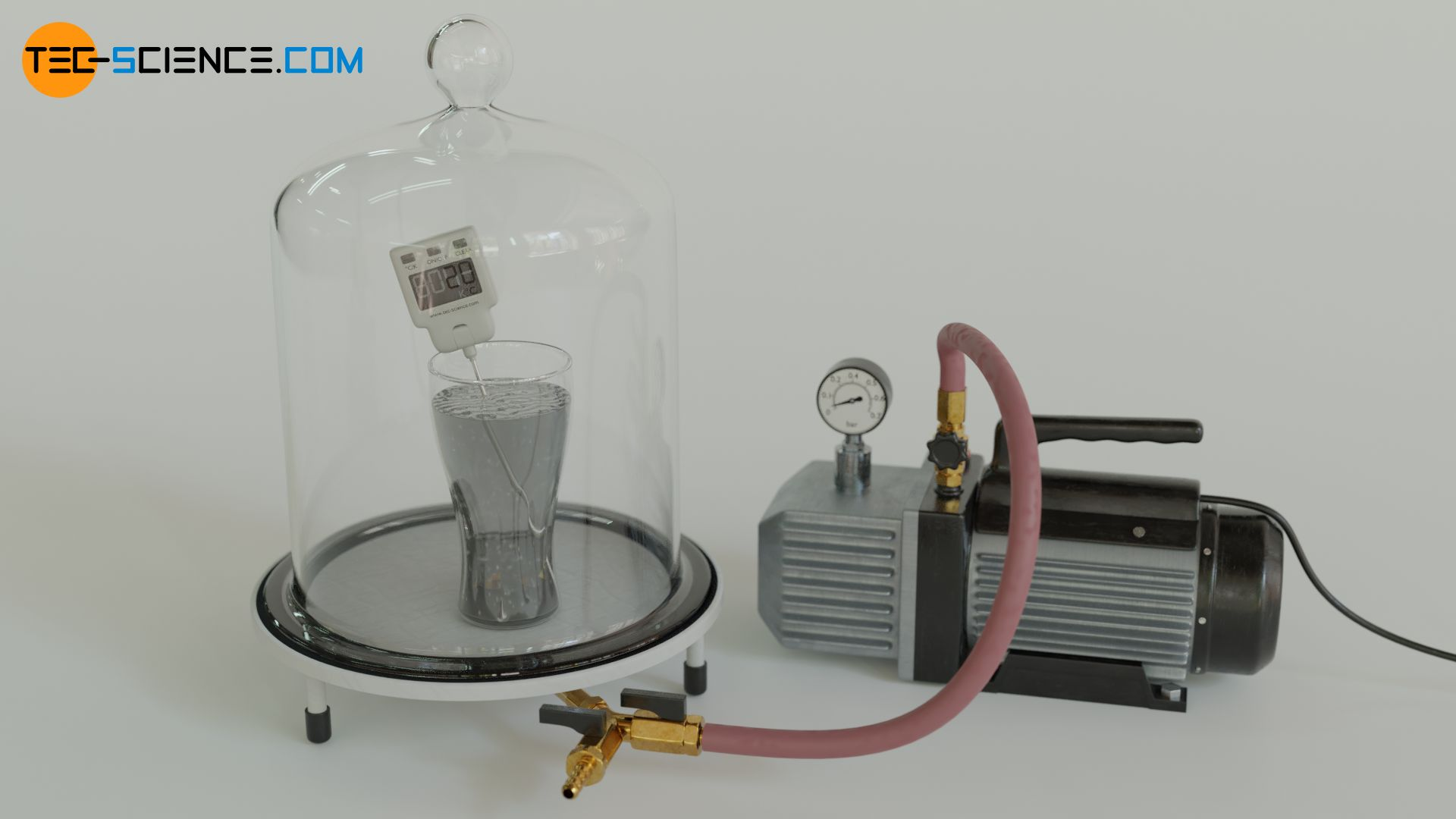 Demonstration of the decrease of the boiling point of water with decreasing pressure using a vacuum pump