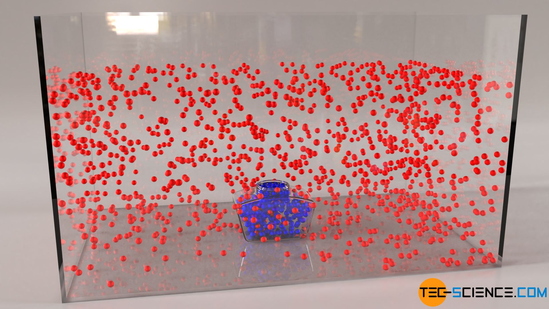 Veranschaulichung der Brownschen Teilchenbewegung mit Bällen