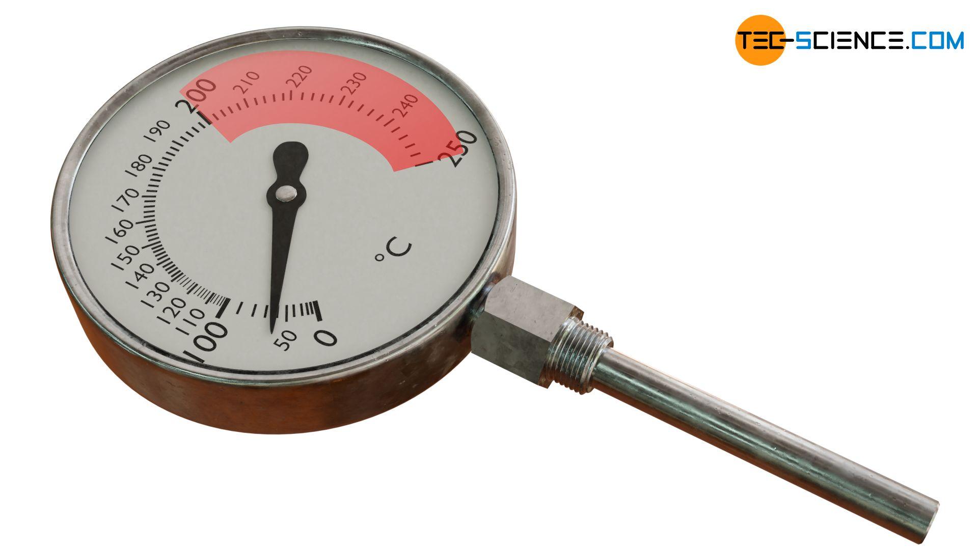 Empfohlener Messbereich eines Dampfdruck-Federthermometer