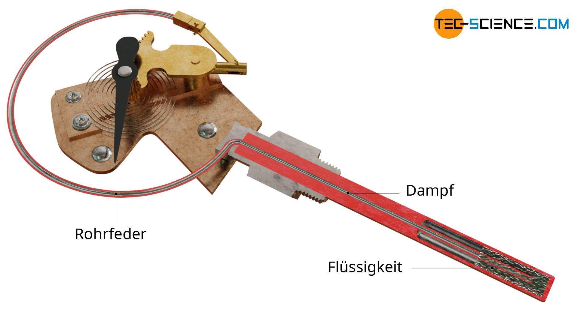 Schnitt durch ein Dampfdruck-Federthermometer