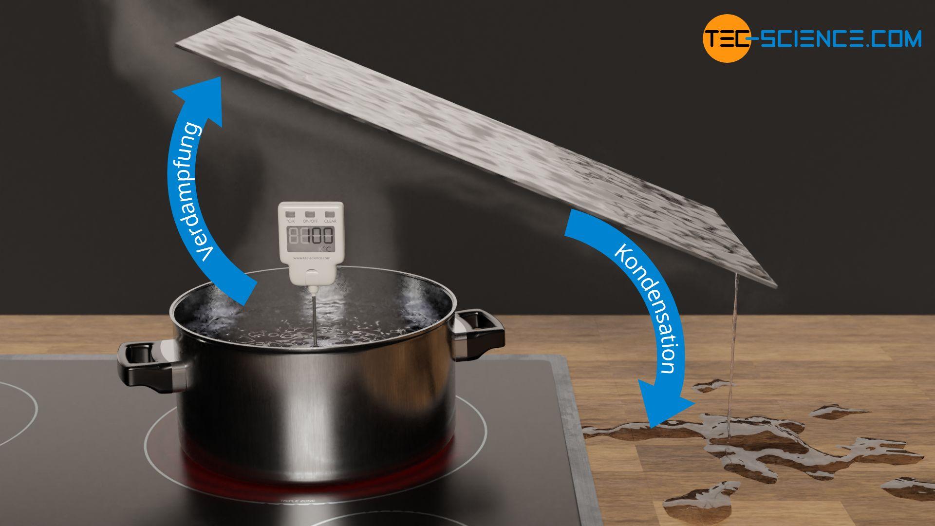 Verdampfen und Kondensieren am Beispiel von kochendem Wasser auf einer Herdplatte