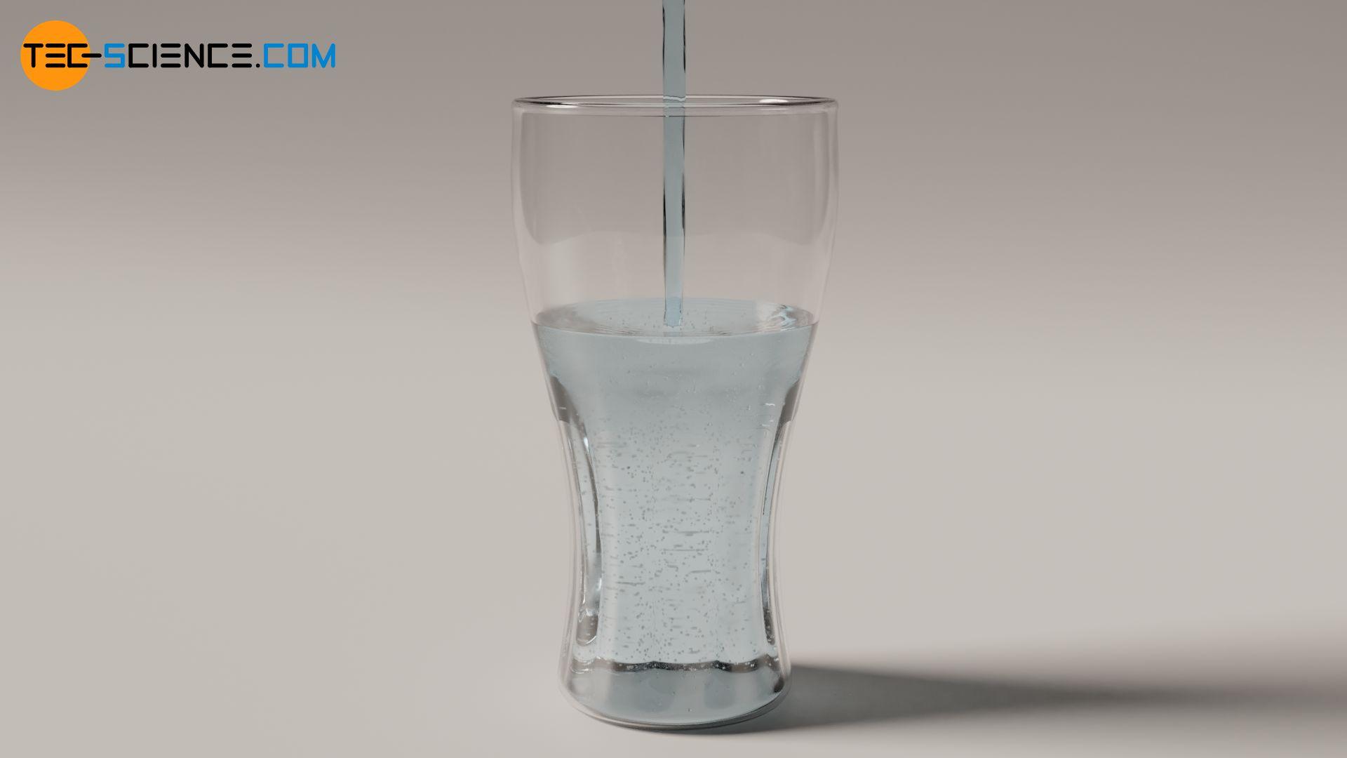 Eingießen von heißem Wasser in ein kaltes Glas