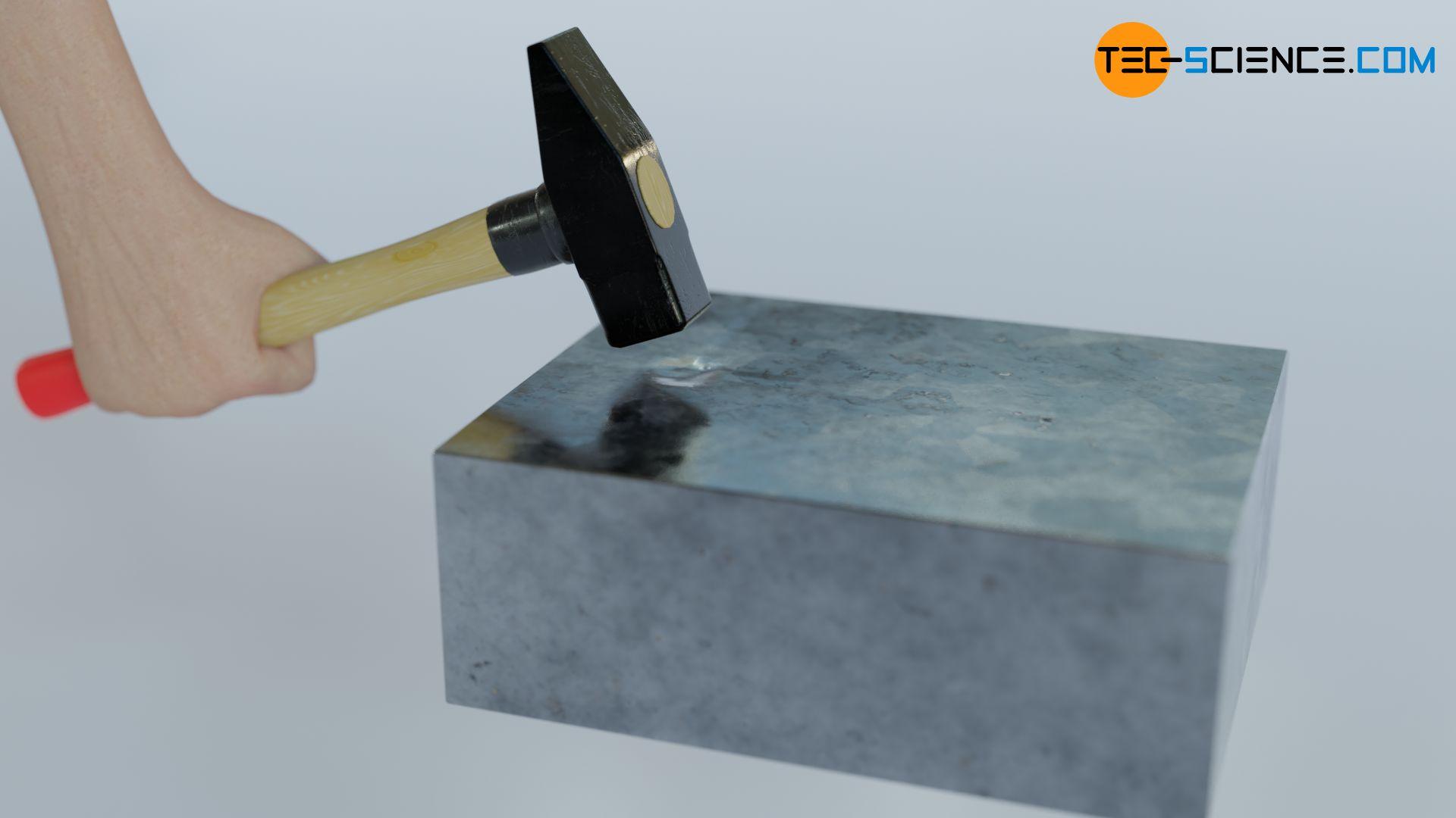 Versetzen der atomaren Struktur eines Objekts durch Hammerschläge in Schwingung