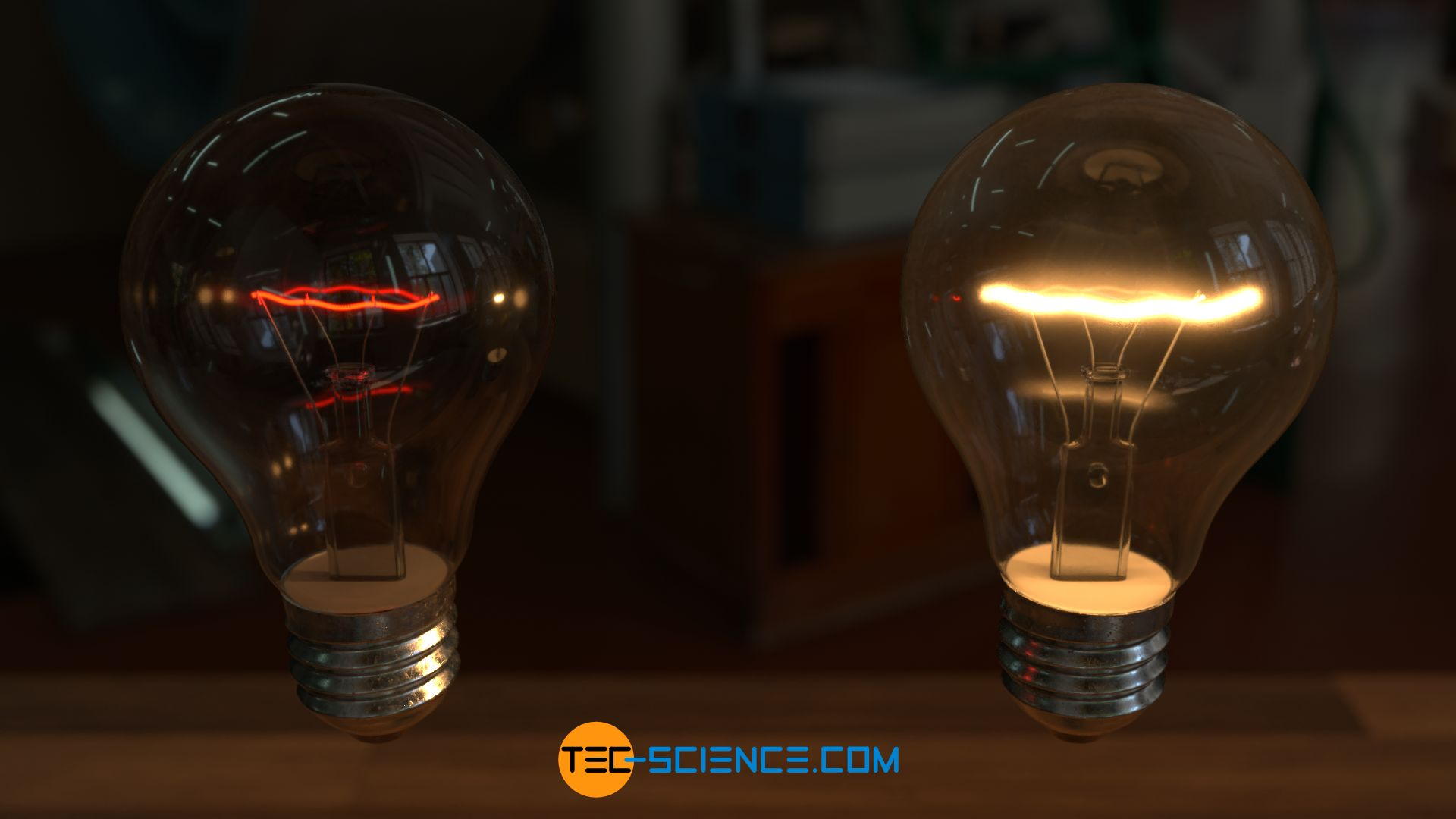 Thermal radiation of a light bulb at different temperatures