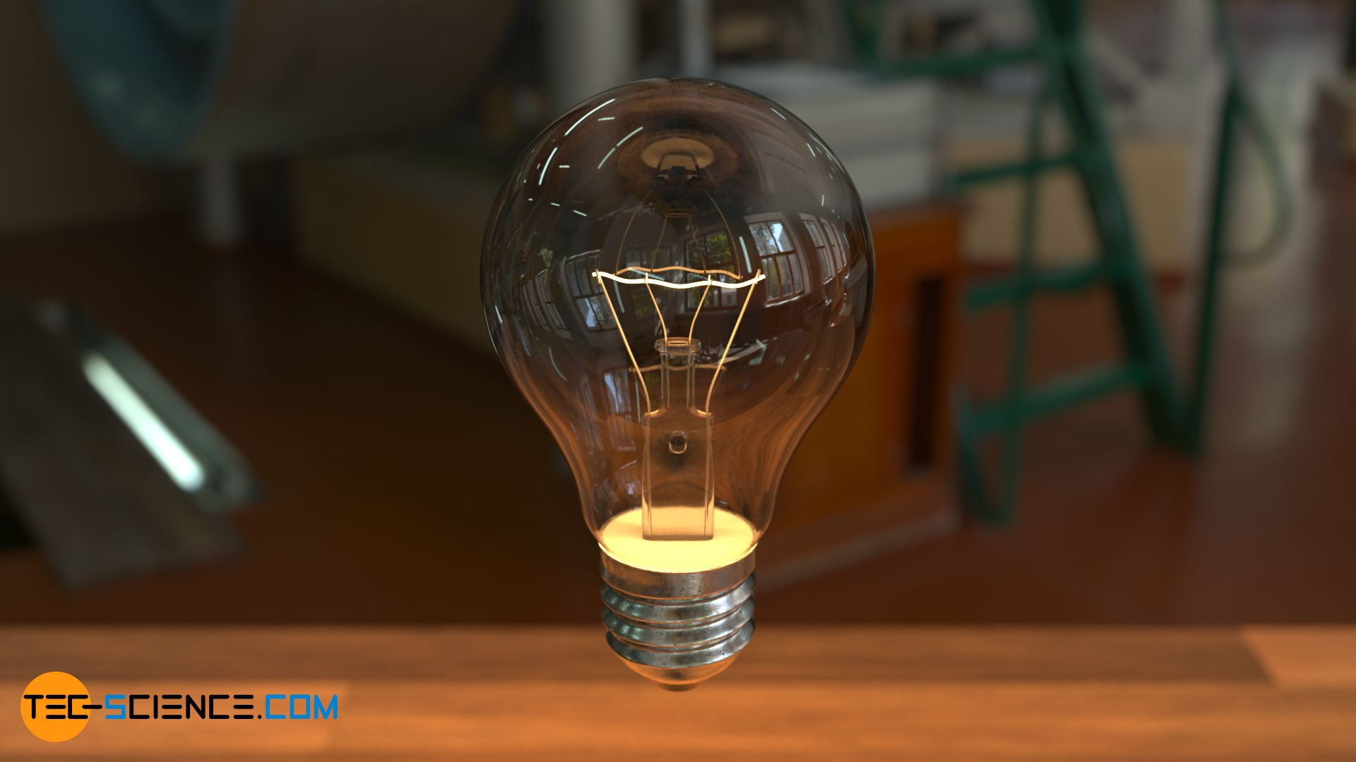 Visible radiation of a light bulb