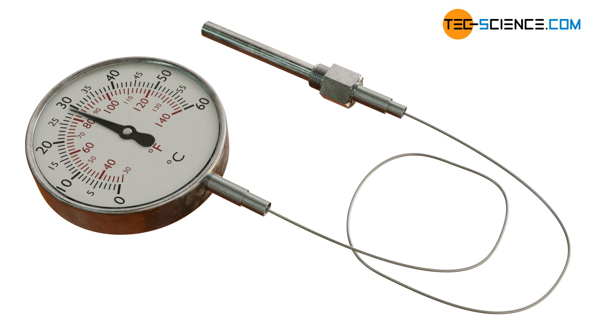 Gas filled thermometer with flexible capillary tube