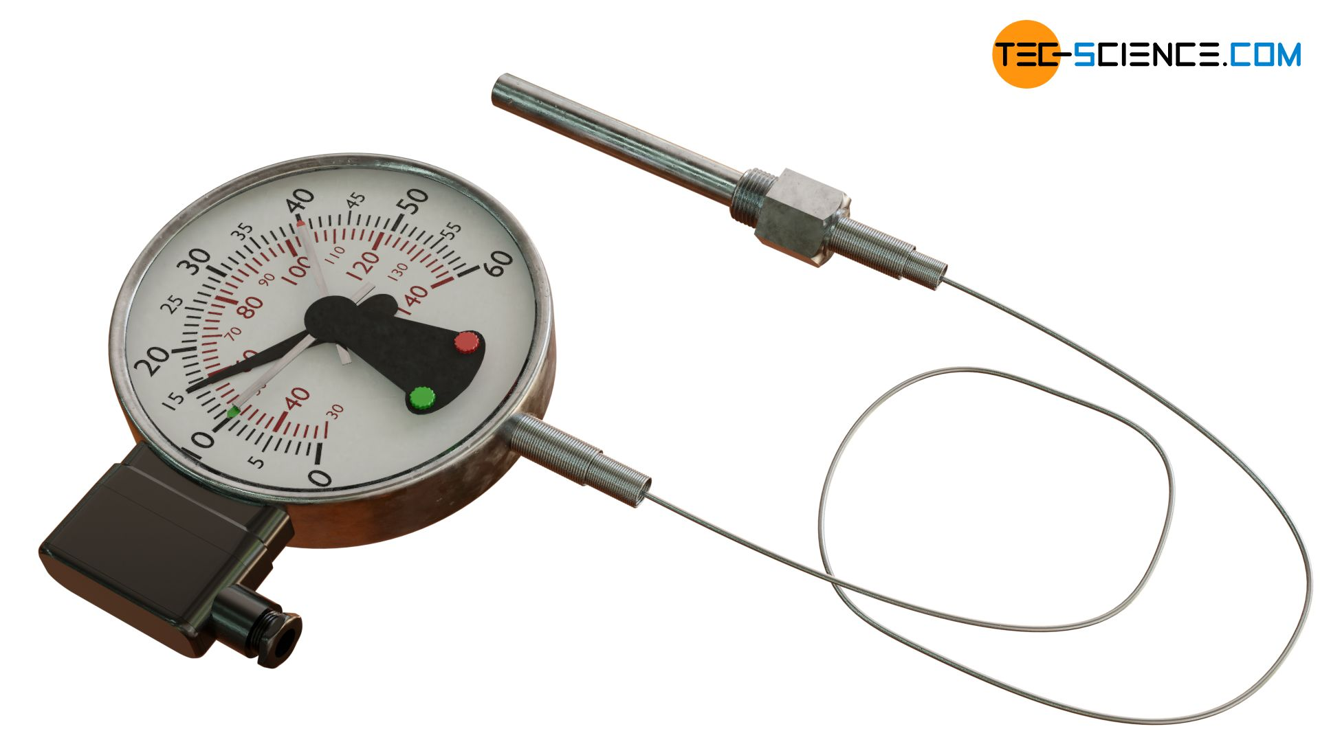 Gas filled thermometer with switch contact