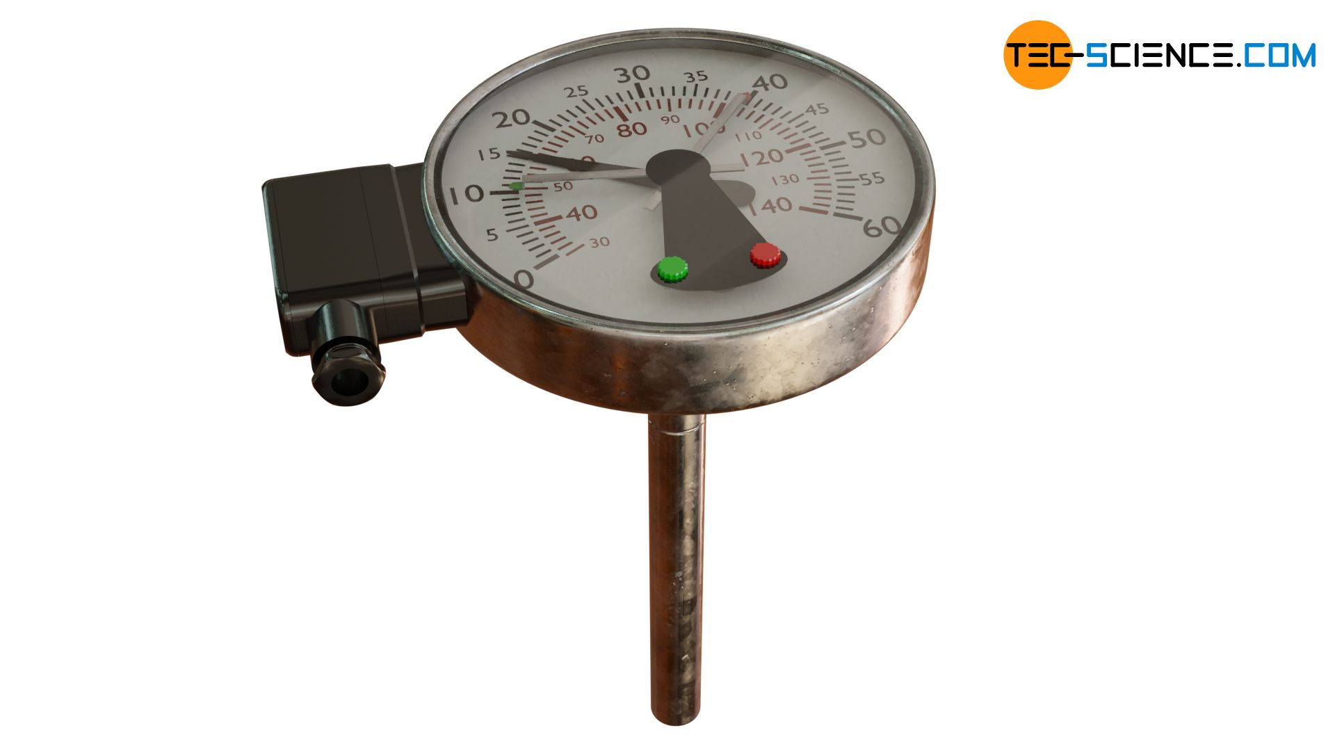 Bimetal thermometer with switch contact