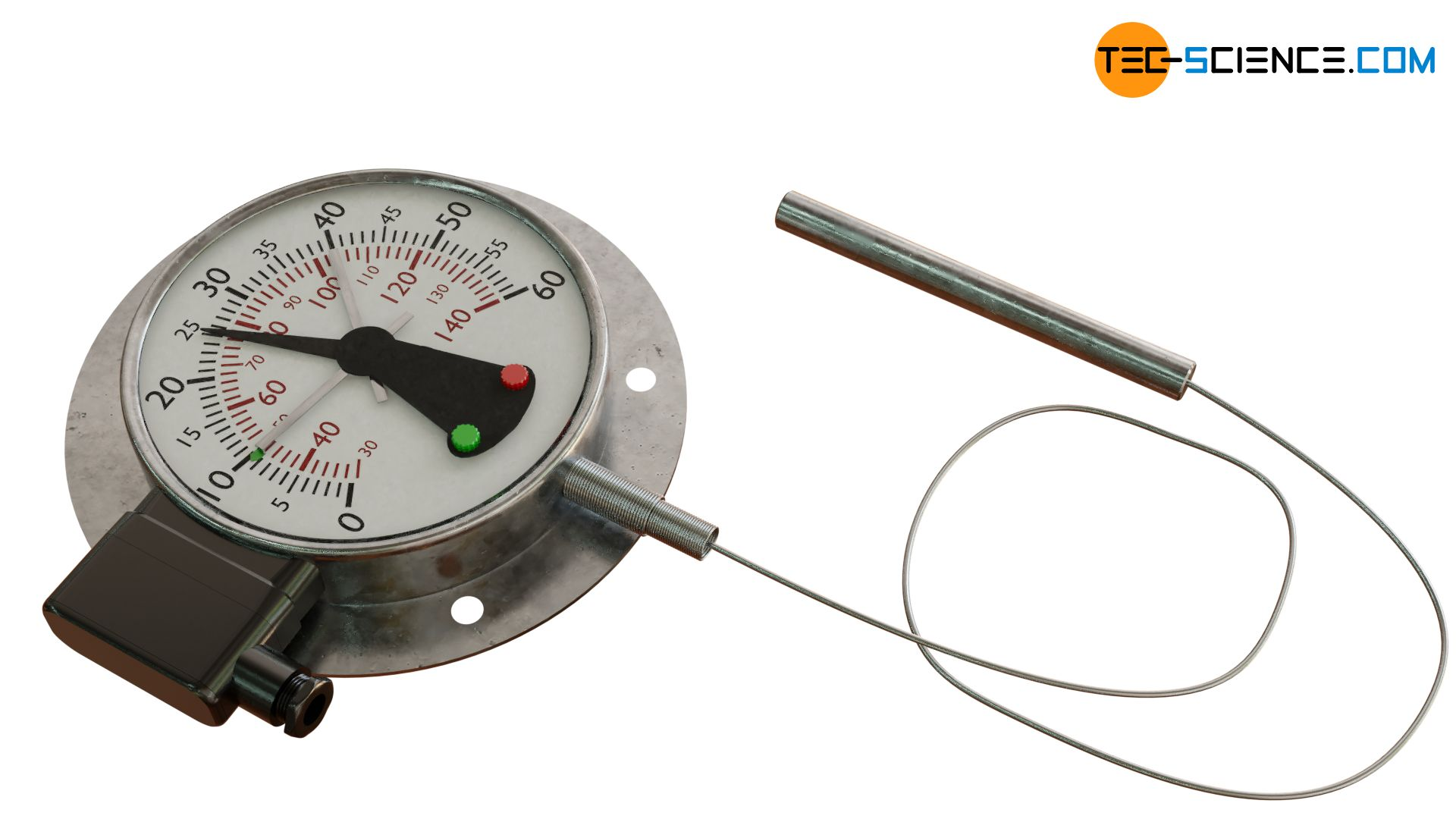 Liquid filled thermometer with switch contact