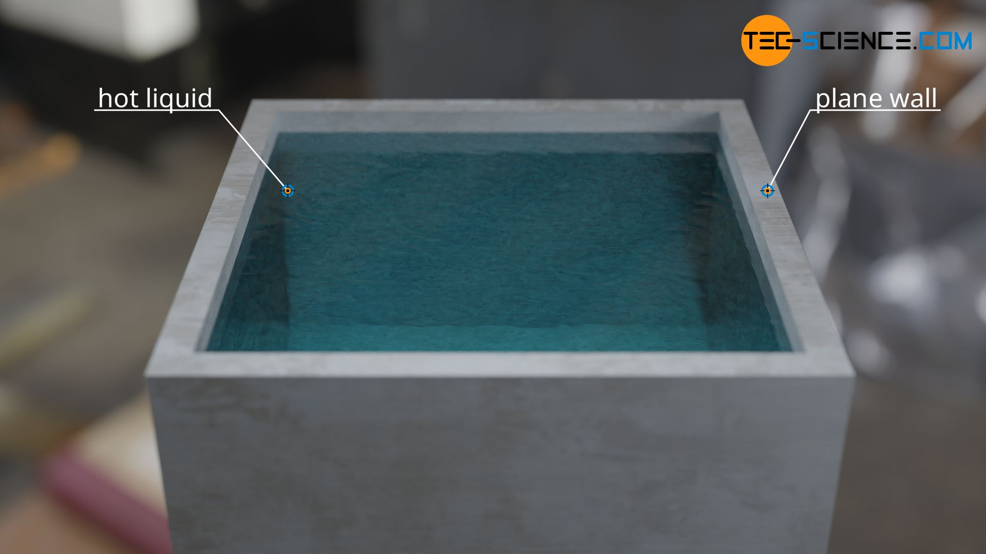 Hot liquid in a vessel with plane walls
