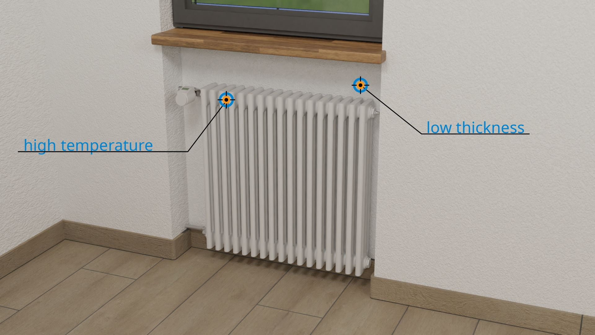Niche for a radiator in a building