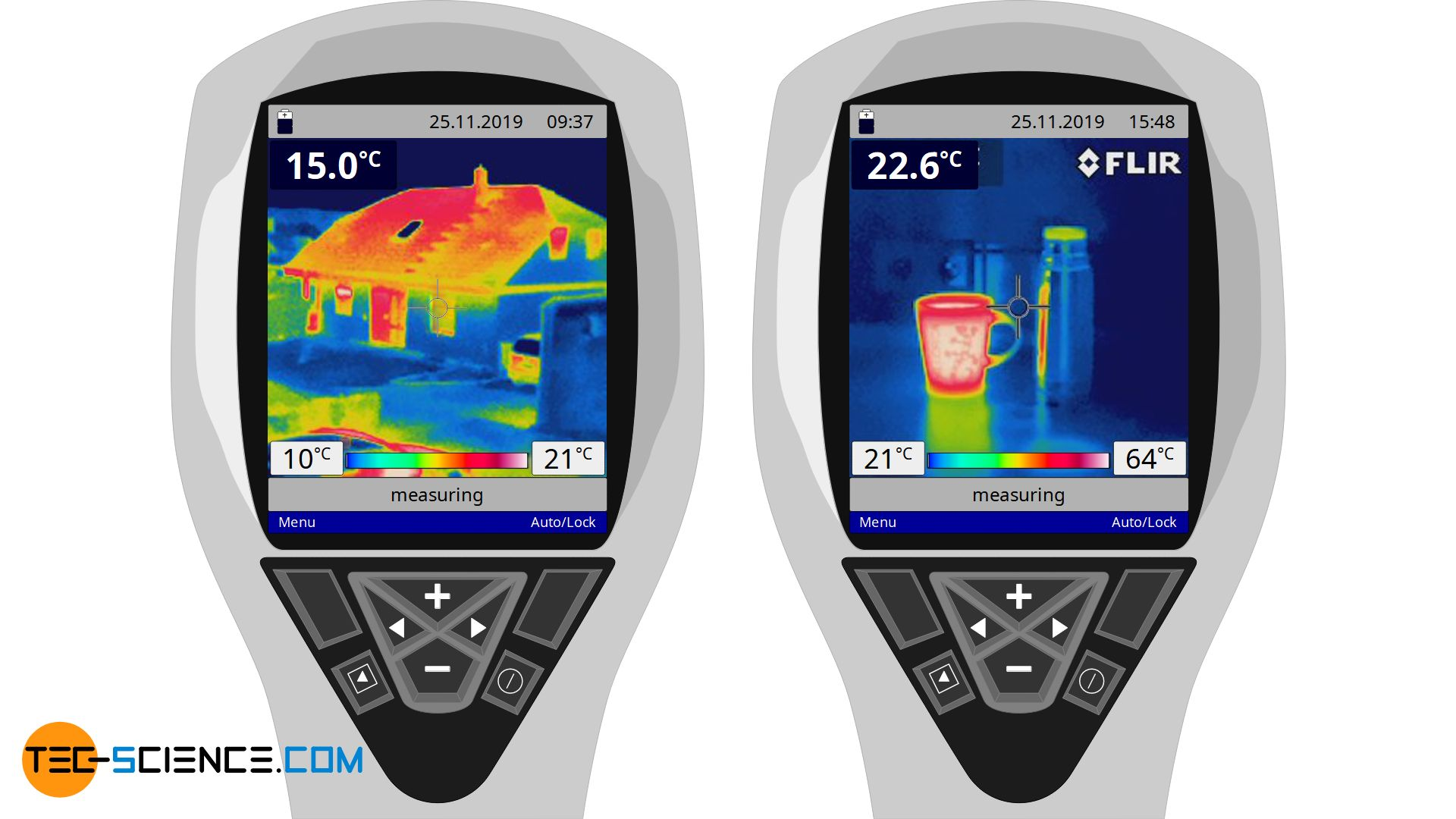 Thermal image of a cup with hot tea and a building