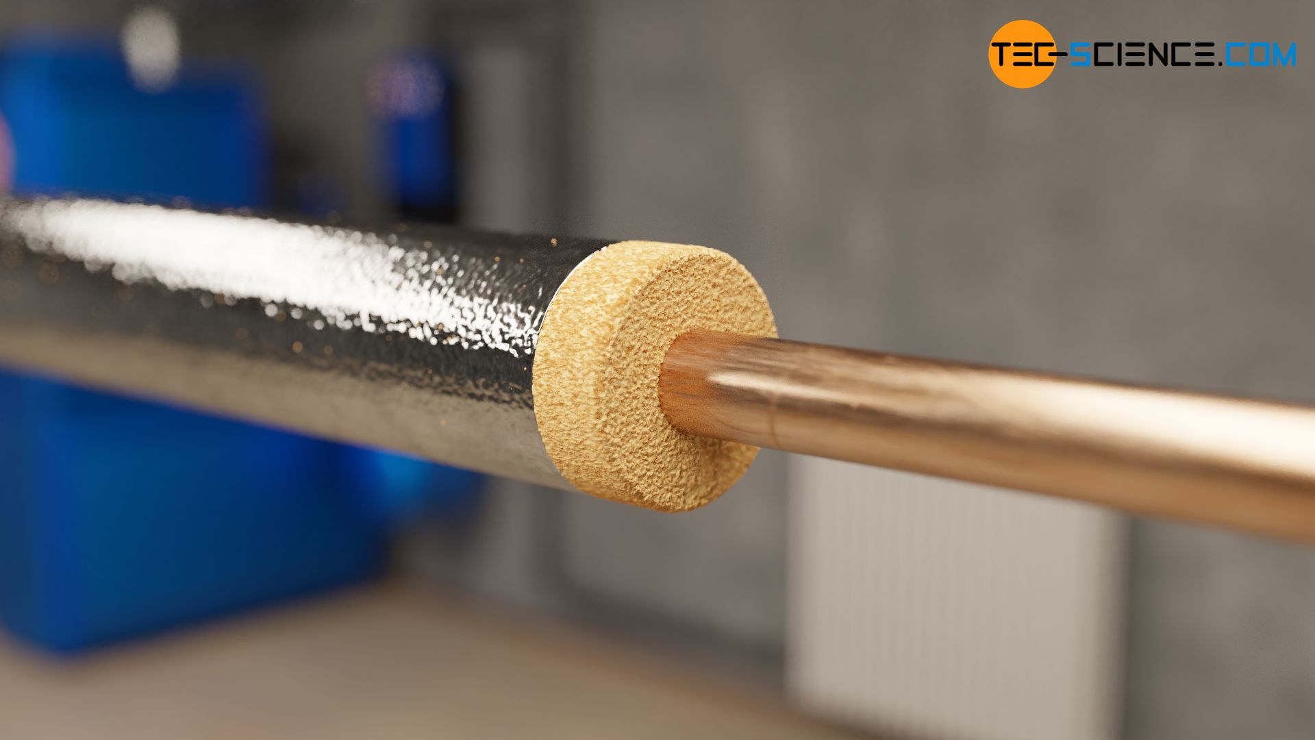 Thermal insulation of a hot water pipe with reflective foil
