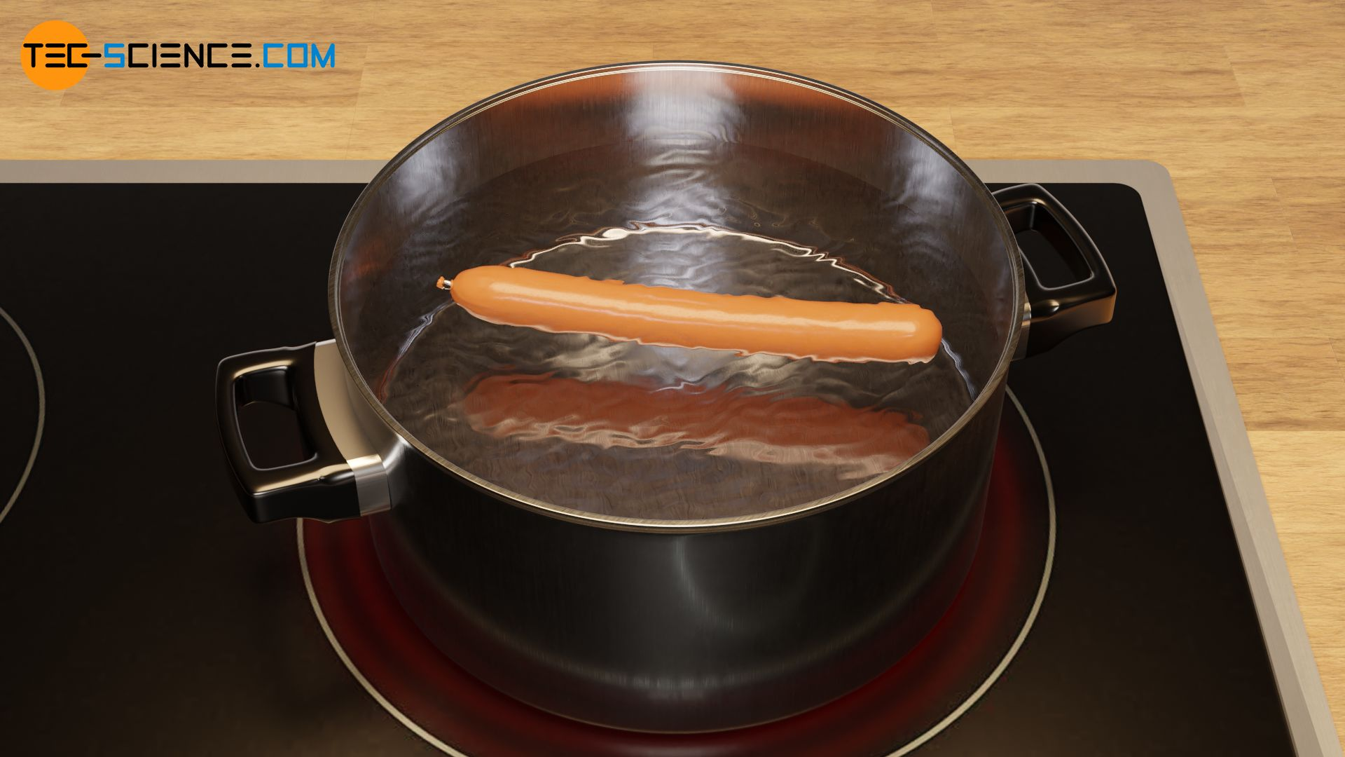 Heating a pot of water with a sausage in it