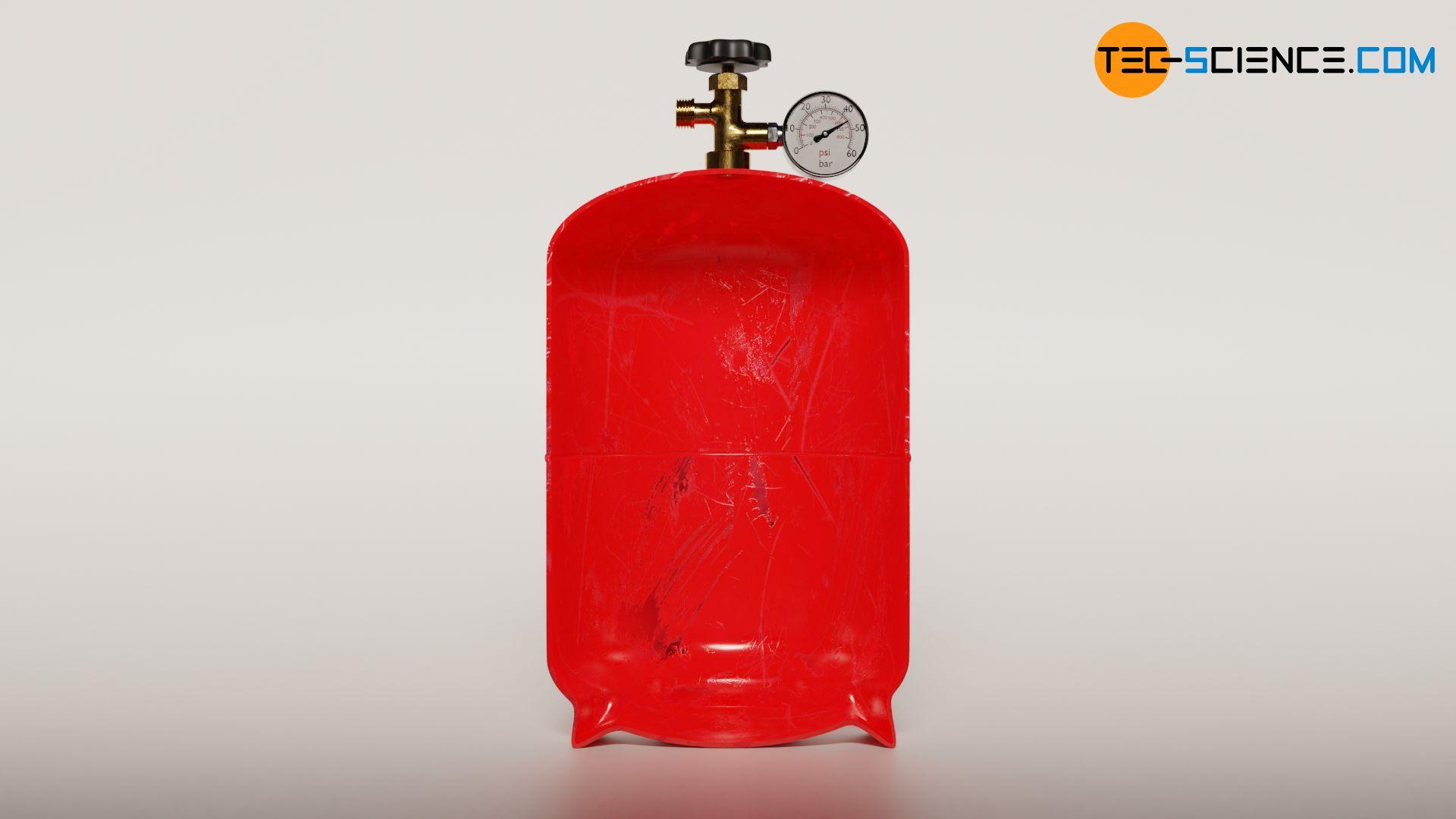 Isochorer Prozess durch Erwärmung einer Gasflasche (konstantes Volumen)