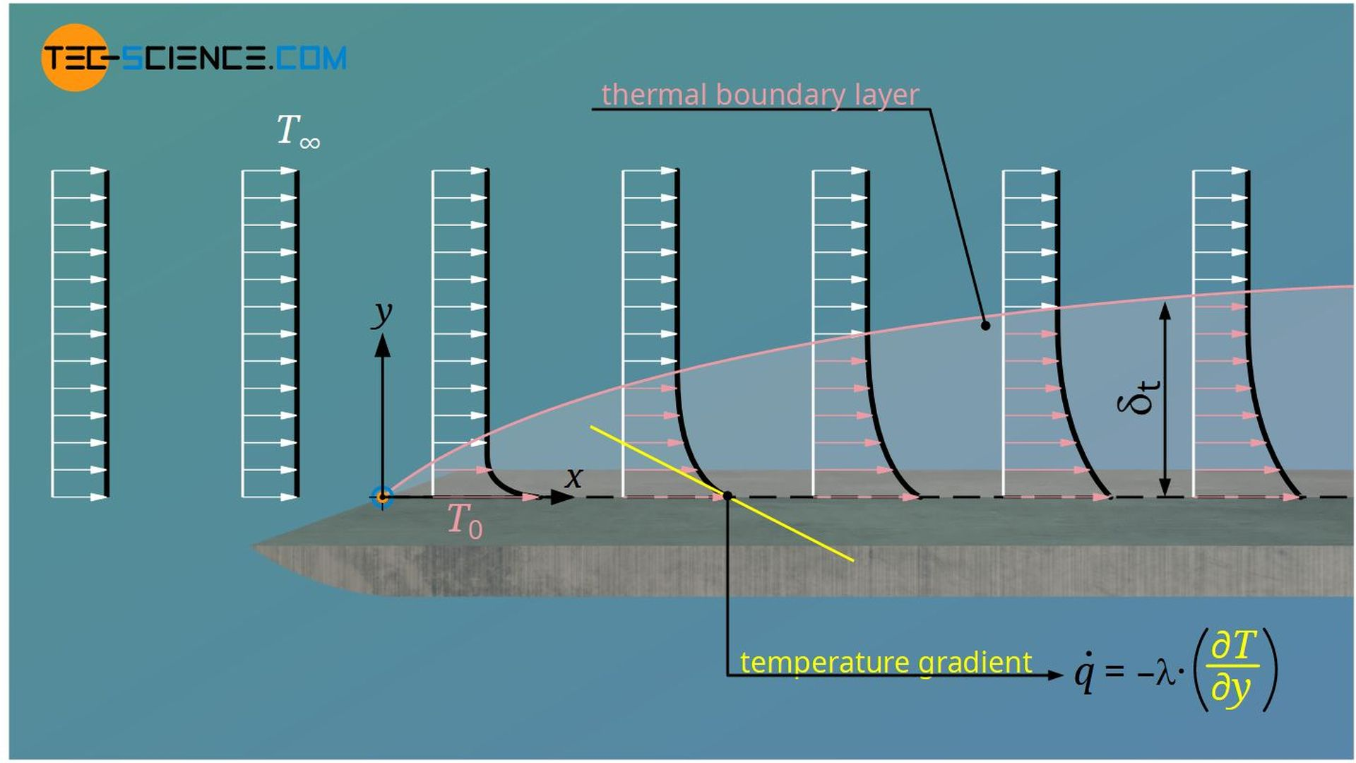 Definition of the thermal boundary layer (temperature boundary layer)