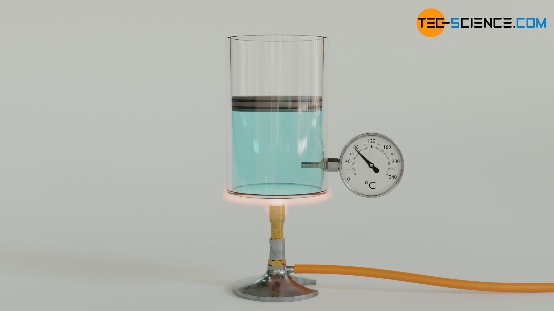 Isobaric process by heating a gas-filled cylinder (constant pressure)